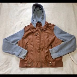 XL Brown Vegan Leather Jacket With Hood | Trendy